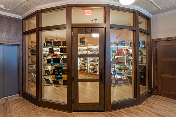 An environmentally-controlled cigar room at Chaloner's Cigar House in Adrian, MI.